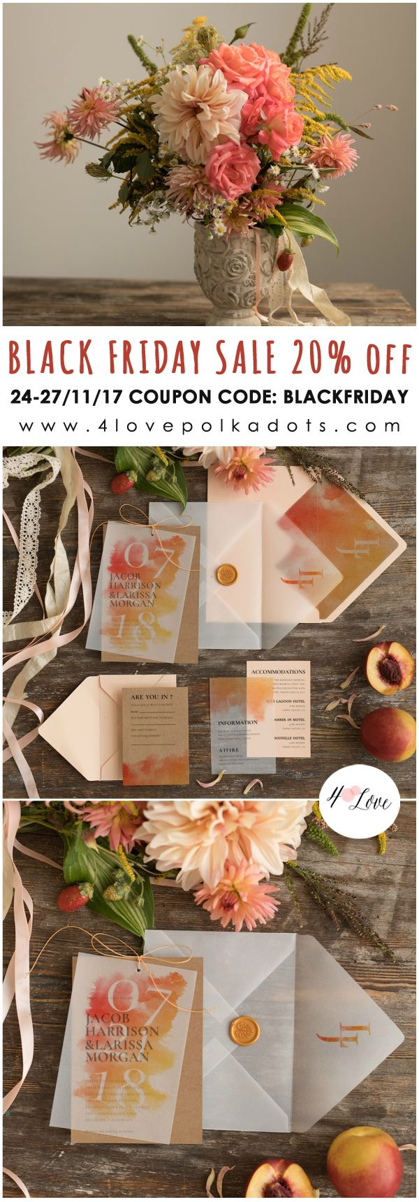 Planning a wedding? Don't miss our Black Friday SALE 20% off everything Wedding Invitations, Save the Dates, Wedding Guest books and more. Rustic, Boho or Beach theme - all stationery and accessories to match! Shop with coupon:blackfriday from 24-27/11/17  #blackfriday #weddingideas