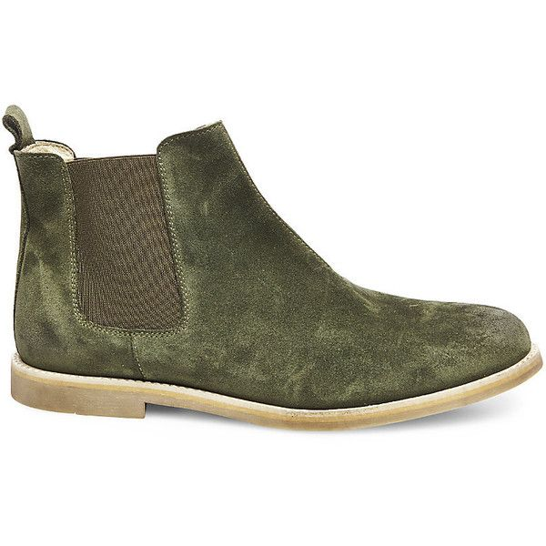 Steve Madden Women's Ranch Boots ($91) ❤ liked on Polyvore featuring shoes, boots, ankle booties, green sde, steve madden mens boots, mens suede chelsea boots, mens wide shoes, mens suede boots and steve madden mens shoes