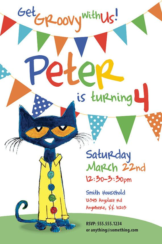17 Best images about Pete the Cat Party – Cat Birthday Invitations