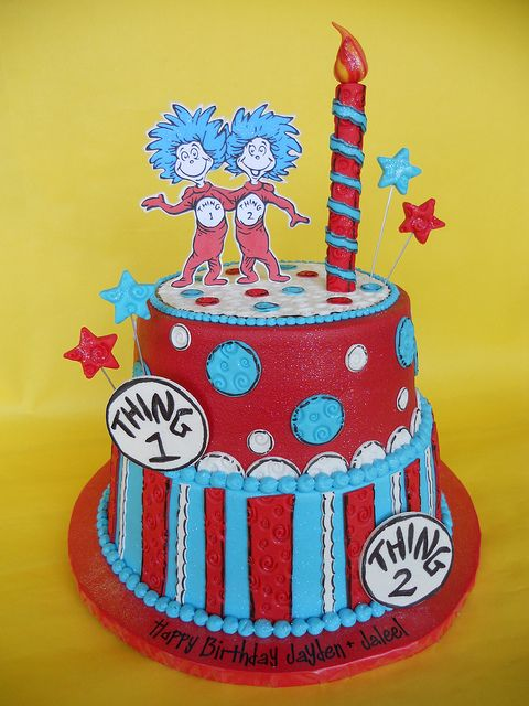 Thing 1 and Thing 2 Twin Birthday Cake by CakesUniqueByAmy.com, via Flickr