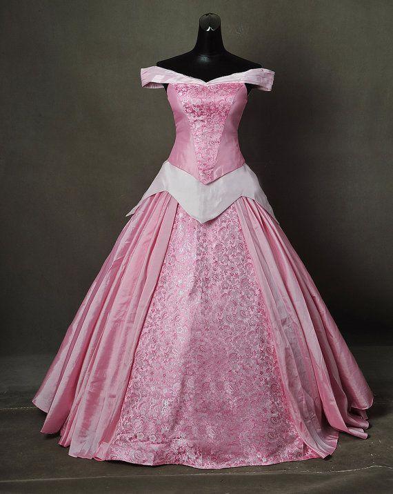 Dormir belleza Aurora rosa brocado adultos Cosplay traje vestido