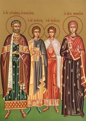 MYSTAGOGY: Great Martyr Eustathios Plakidas With His Wife and Children