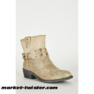 Frosted Brown Textured Silver Detail Western Style Boots