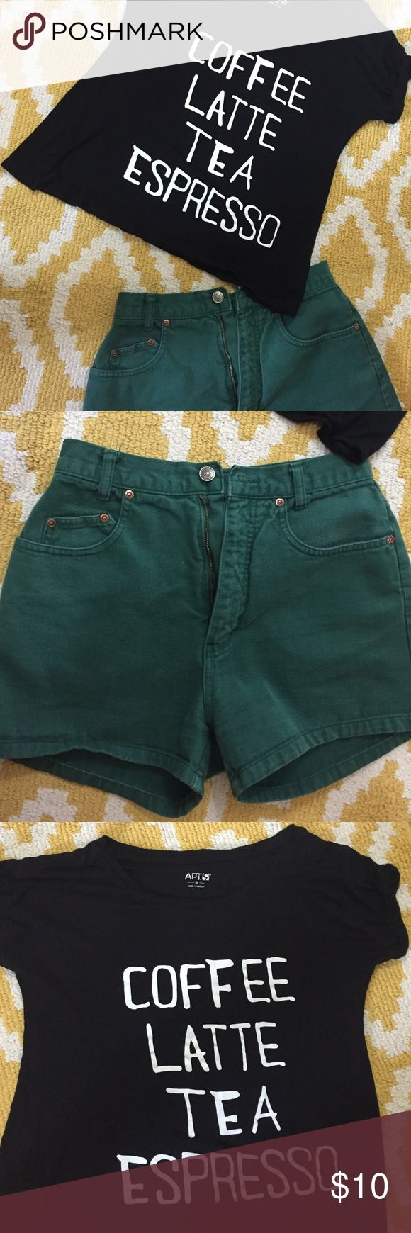 Green high waisted shorts outfit! Black graphic T size medium! With green high waisted shorts, size 7 but run small! Apt. 9 Other