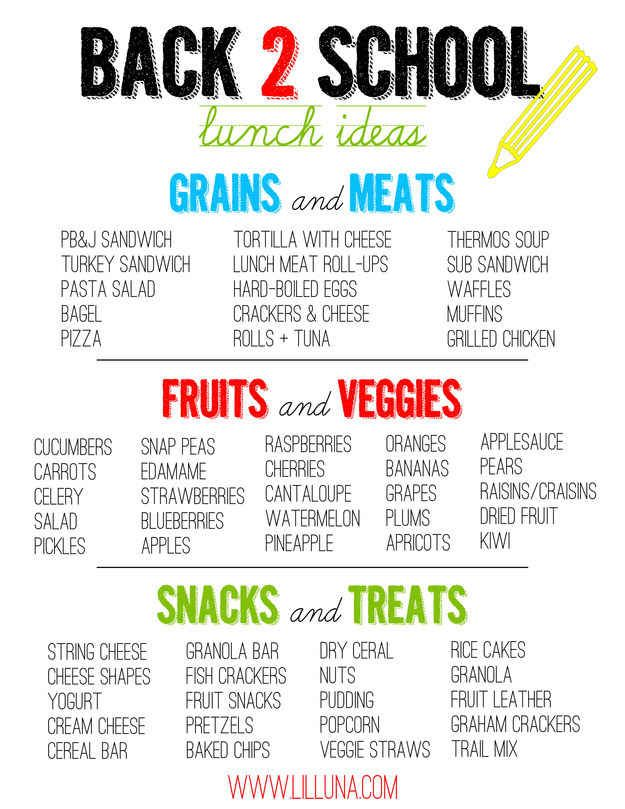 Print out this list of ideas and keep it on the fridge to stay inspired. | 27 School Lunch Tips That Will Keep You Sane