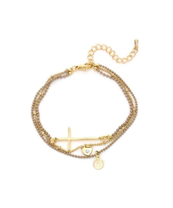 Charming Cross Bracelet - Beige  $6Cross Bracelets, Charms Crosses, Crosses Bracelets
