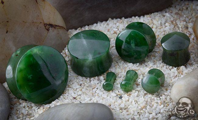 Nephrite jade stone plugs.