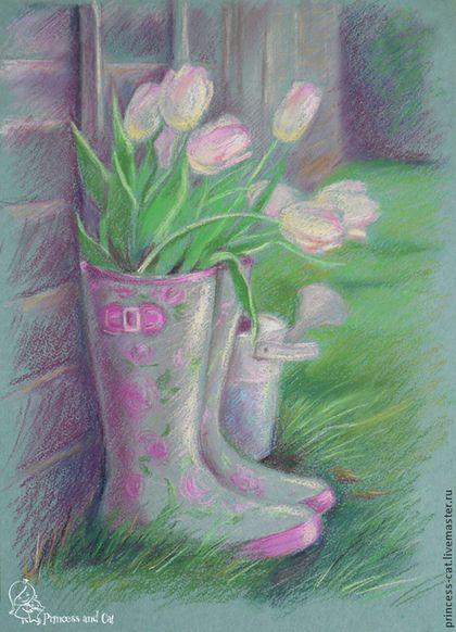 Pastel drawing / Натюрморт ручной работы. Ярмарка Мастеров - ручная работа. Купить Весна в саду. Handmade. Тюльпаны, сапоги, весна, мятный цвет