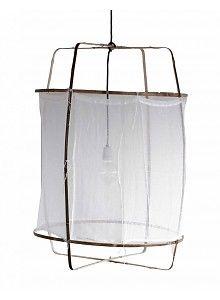 Ay Illuminate Z5 pendant lamp in bamboo and white cotton - Ø 42cm x H100cm - Ay Illuminate