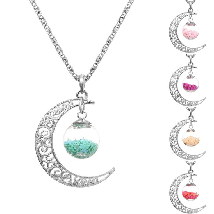 Lucky Jewelry Silver Plated with Crescent Moon Glass Wish Bottle Choker Long Pendant Necklace for Women Christmas Gift
