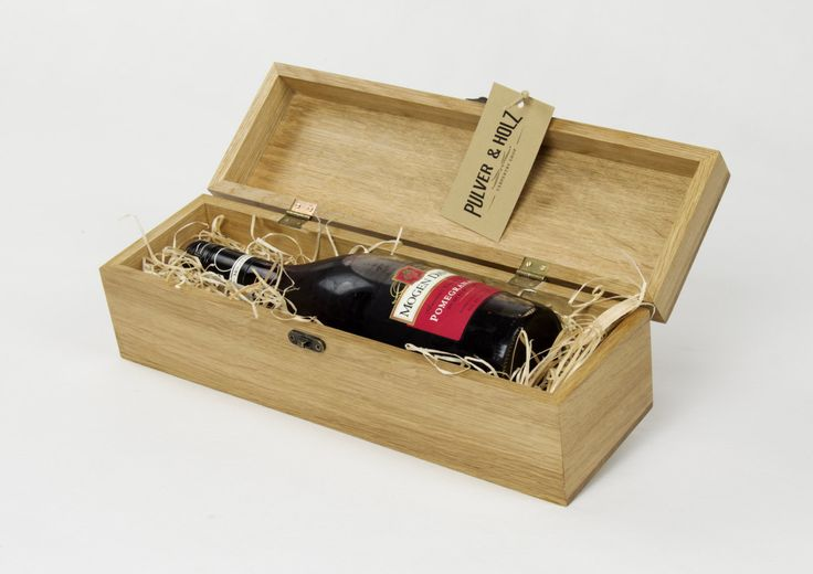 Wooden Wine /Whisky /Luxury Oak Box/ Single Bottle /Hand crafted /Gift by PulverandHolz on Etsy