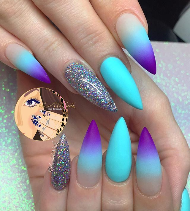 This teal and purple ombre partnered with grey glitter is soooo nice! So  beautiful.would take a lot of skill as a nail beautician. - 584 Best Nail Designs Images On Pinterest Nail Design, Manicures