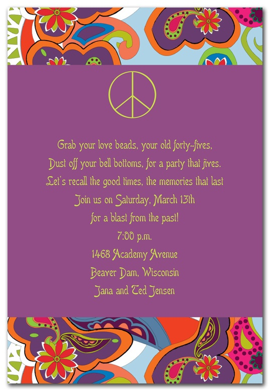 Groovy Peace Sign - Party Invitations by Invitation Consultants. (Item # IC-NW-RLP-308 )