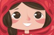 Demoiselle aux grands yeux bruns portant une belle cape rouge.