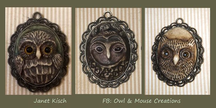 each of these pendants was hand sculpted in wax and then cast in resin ~ Janet Kisch