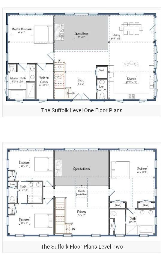 Barndominium floor plans 2 story ideas