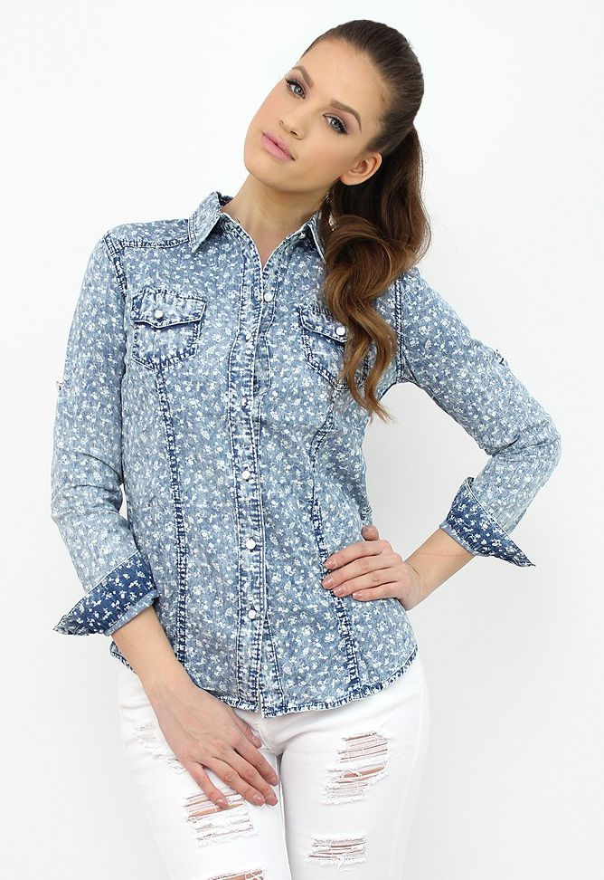 Floral Print Denim Shirt- a precious piece for your wardrobe....:) http://famevogue.ro/produse_noi_94/camasa_denim_cu_imprimeu_floral  #shopping #style #fashion #denim #shirt