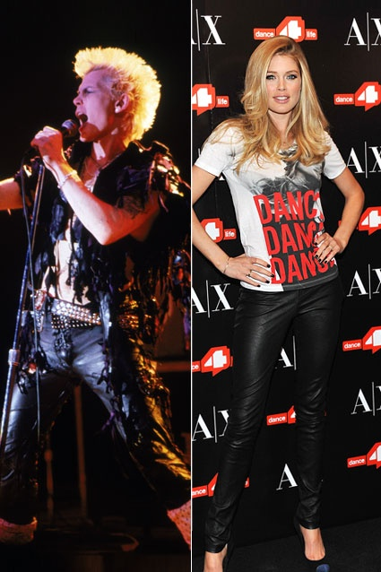 Billy Idol takes to the stage in some slashed up leather pants in 1985. Supermodel Doutzen Kroes rocks leather pants as she unveils the Dance4life T-shirt in honor of World AIDS Day at A|X Armani Exchange on November 30, 2011 in New York City.Fashion Full, Design Ideas, Cities, Dance4Lif T Shirts, Full Circles, Armani Exchange, York, Billy Idol, Doutzen Kroes