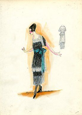 """""""Dress, Paquin, 1917. Black and white lace dress, tea length; draped short sleeved bodice; wide green sash with bow at waist. (Bendel Collection, HB 021-41)"""", 1917. Fashion sketch. Brooklyn Museum, Fashion sketches. (Photo: Brooklyn Museum, SC01.1_Bendel_Collection_HB_021-41_1917_Paquin_SL5.jpg)"""