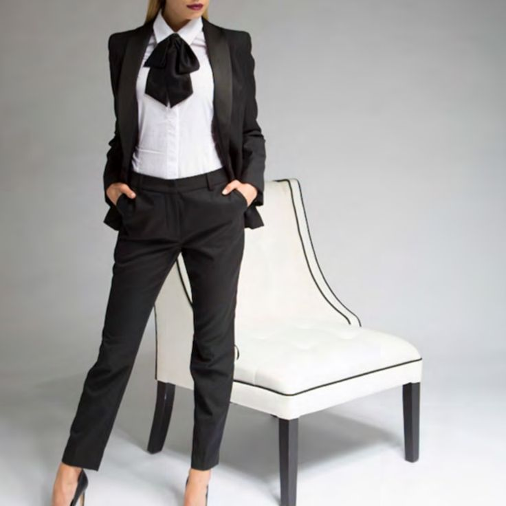 Tuxedo Jacket | Slim Leg Trousers | White Button-Up Shirt with Silk Bow Tie
