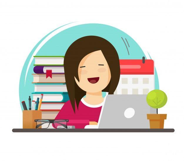 Mujer De Negocios Feliz Trabajando Y Apr Premium Vector Freepik Vector Ordenador Chica Caracter Oficina Mujer De Negocios Dibujos Feliz