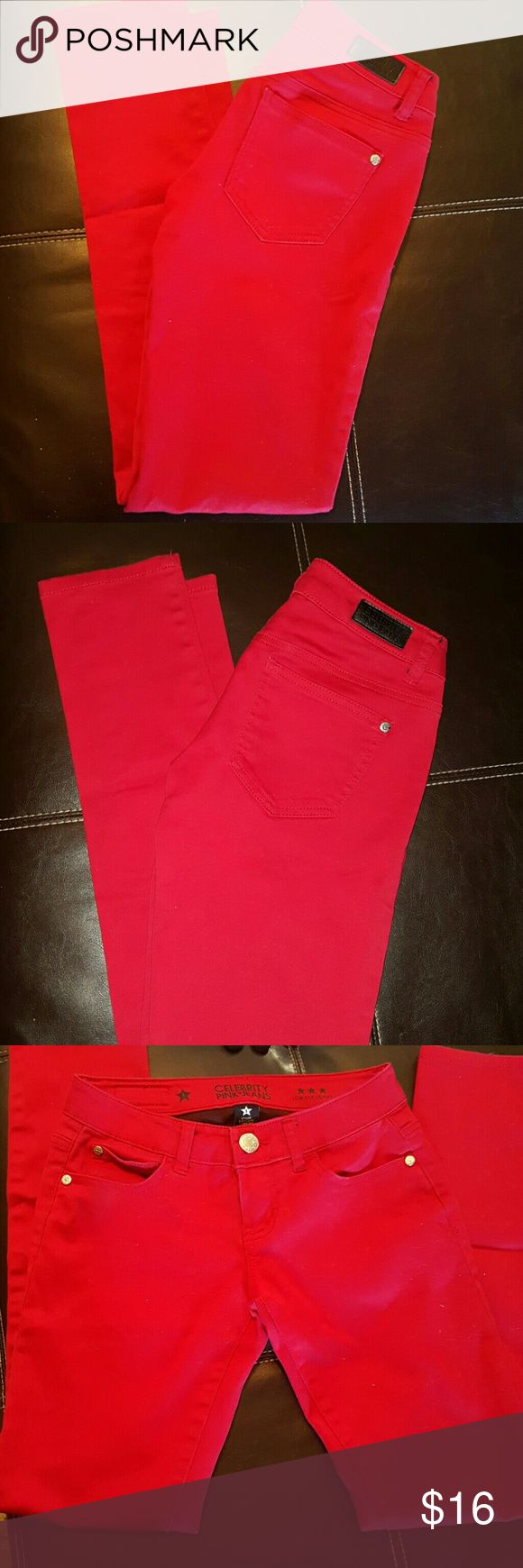 Red Skinny pants jeans low rise soft stretch 1 Great Condition Celebrity Pink Bold Bright Red Skinnies.  Ladies women's juniors 1 small  Top rated  Fast shipper Bundle & Save B2 Celebrity Pink Jeans Skinny