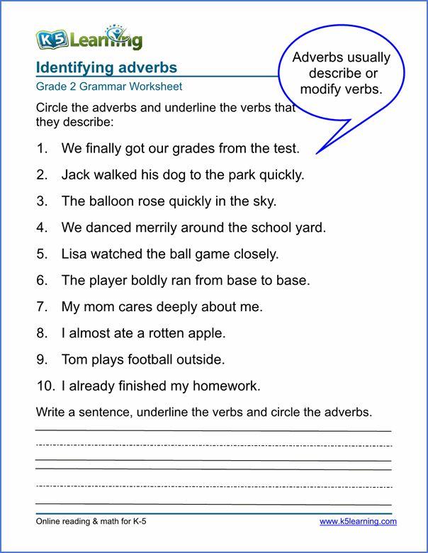 Adverbs Worksheets Grade 2 Sample