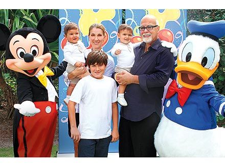 Celine Dion, her husband Rene Angelil, and her 3 sons, Rene Jr., fraternal twins Eddy and Nelson Angelil on their first birthday