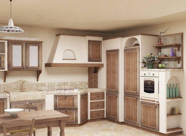 Cucina in muratura con finiture in legno decapato