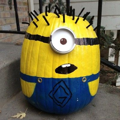 These Spray Paint Minion Pumpkins are fun, super easy and perfect for your Halloween celebrations. Check out the Minion Flower Pot People and Minion Tyre (Tire) Planters too!