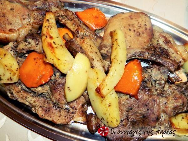 Πικάντικα χοιρινά μπριζολάκια και καραμελωμένες πατάτες #sintagespareas