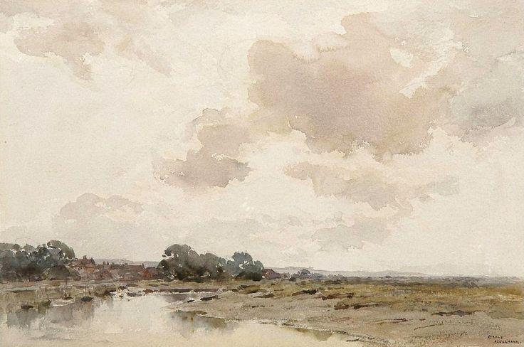 Arthur Gerald Ackermann (1876 — 1960, UK) Boats on the river in an extensive landscape. watercolour. 23.5 x 35.5 cm. (9¼ x 14 in.)