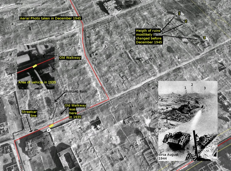 My theory on the placement of this vehicle during the Warsaw Uprising in 1944. This is in the southwestern portion of the Warsaw Ghetto.