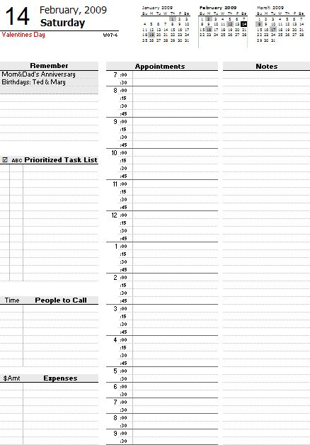 A free daily planner spreadsheet for printing your own planner pages.