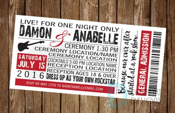 Rock and Roll wedding invitation - rock concert invite - music wedding invite - concert ticket - rock and roll invite - *Digital File Only*