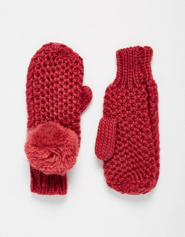 Image 1 ofASOS Textured Knit Pom Mittens