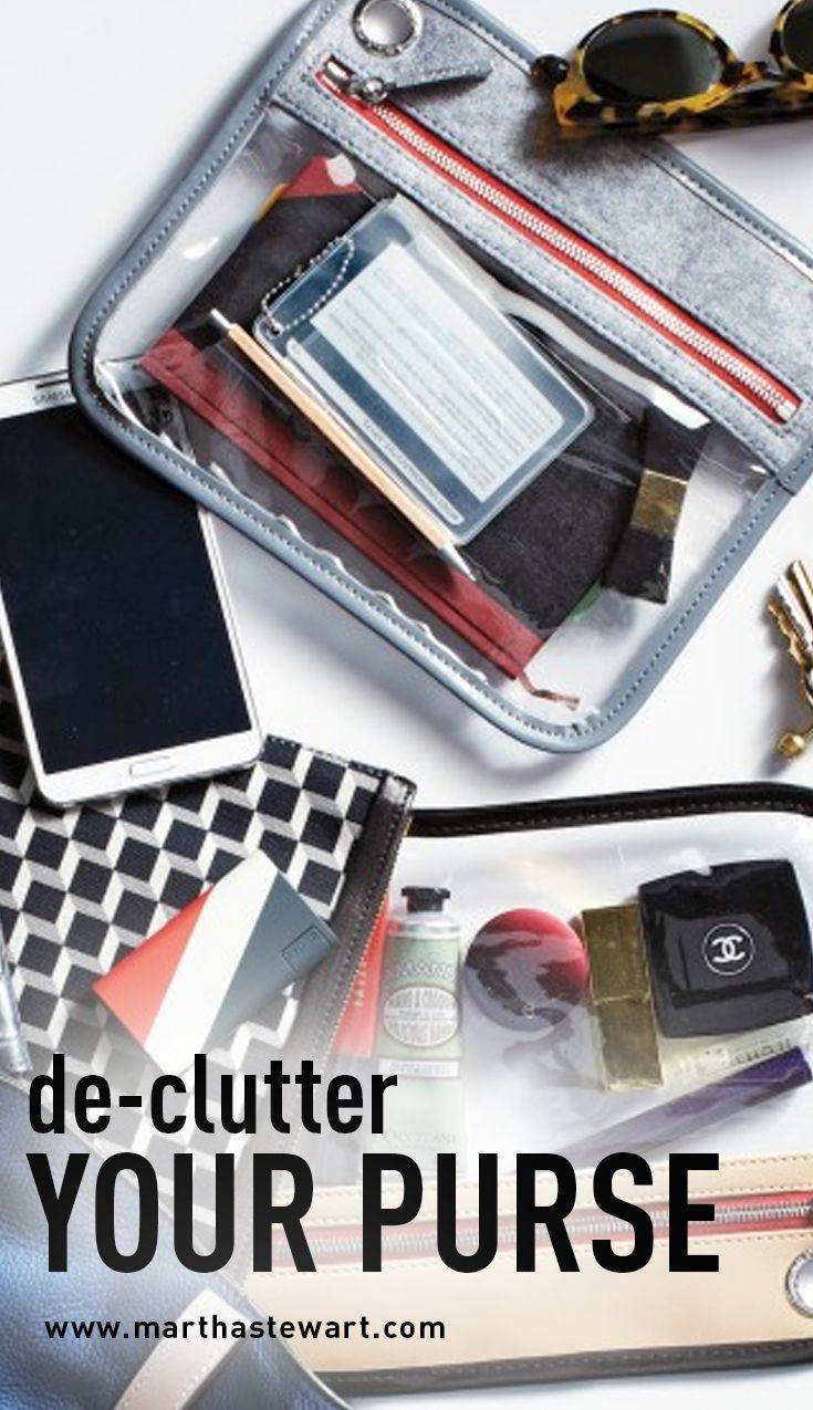 De-Clutter Your Purse | Martha Stewart Living - When you are standing at your front door and you can't find your keys in your black hole of a handbag, you know it's time for a little de-cluttering.