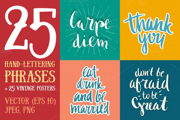 25 Hand Lettering Phrases & Posters by Qilli on @creativemarket