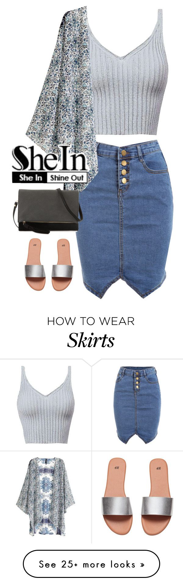 """Pencil Denim Skirt"" by ali-marsilla on Polyvore featuring H&M and Urban Originals"