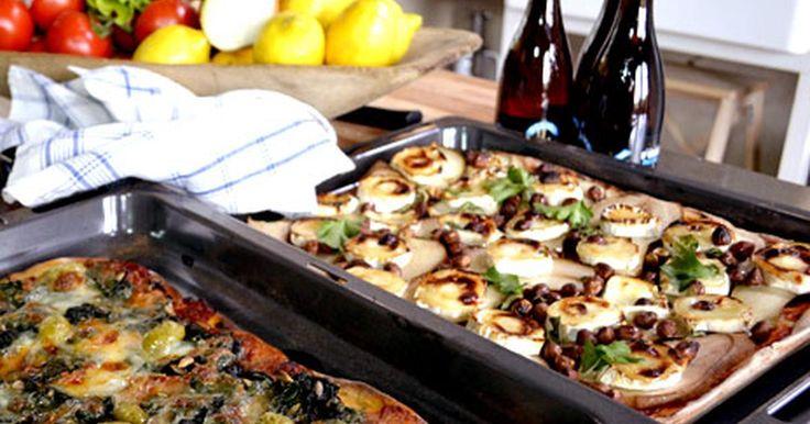 Ernsts recept på pizza med tre olika smaker. Välj mellan päron och chèvre, spenat eller potatis med rosmarin.