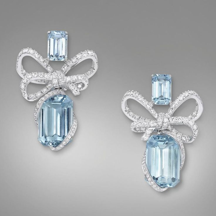 VanLeles Diamonds Available at @modaoperandi our Lyla's Bow Collection, one-of-a-kind earrings featuring 12 carats of fine Brazilian aquamarine and 1.50 carats of scintillating diamonds.