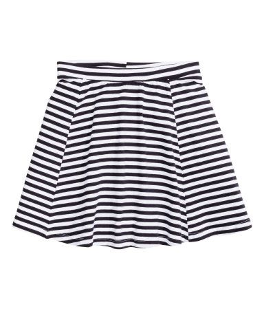 CONSCIOUS. Striped circular skirt in organic cotton jersey with an elasticated…