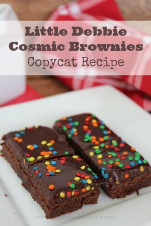 Cosmic Brownies Recipe | These are just like the soft brownies from Little Debbie without the preservatives!  Plus instructions on how to make the walnut version!