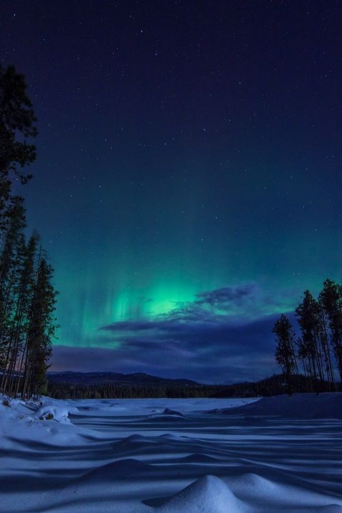 The northern lights over Ellis Reservoir, near Penticton BC, Canada