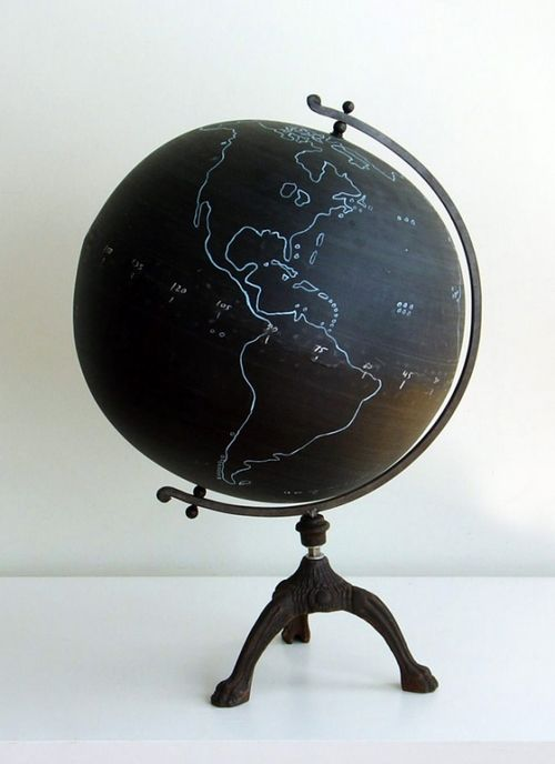 Using a gold paint marker, write on the globe the quote