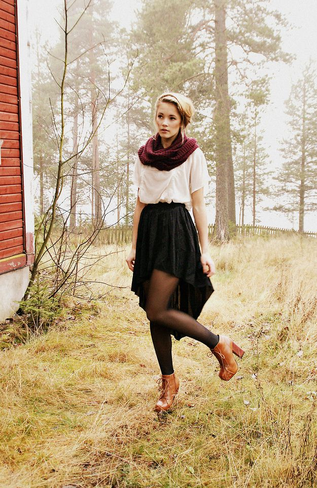 black skirt, tights, white loose shirt + top it all off with a deep purple scarf
