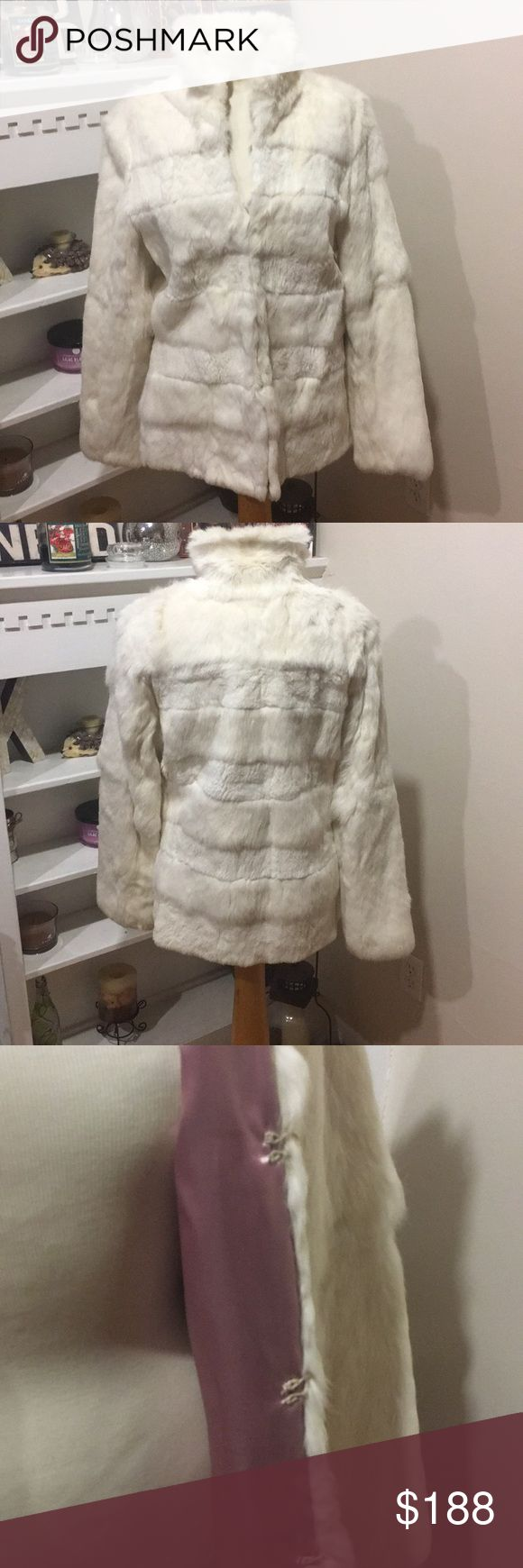 100% rabbit fur coat Gorgeous  white rabbit fur coat in perfect condition  pictures of clasps button pictures as well as tag for care accepting offered 💕 Jackets & Coats