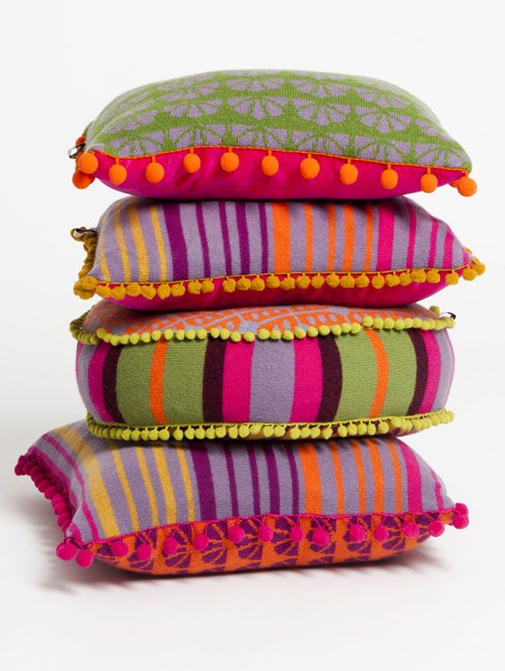 These wonderful, rainbow-coloured knitted cushions by Deryn Relph are fab!