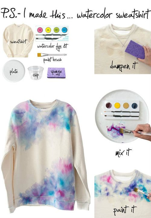 DIY Water Color Wearables: Sweet Tutorial from P.S. I made this, on Tumblr