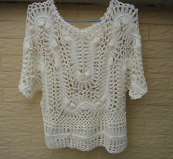 Hairpin Crochet Lace Blouse Womens Summer por Tinacrochetstudio